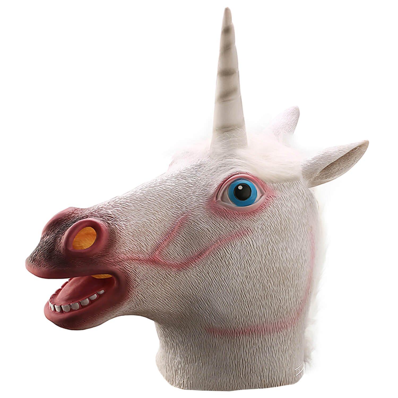 Ylovetoys Unicorn Head Mask Halloween Costume Party Novelty Latex Animal Mask