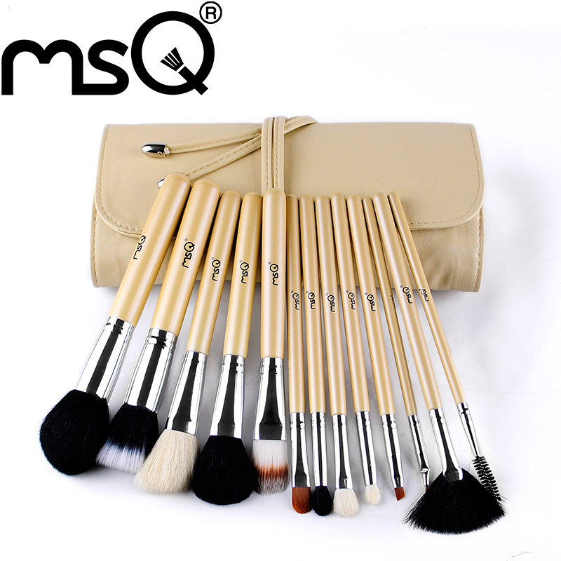 Free Shipping MSQ Brand 13Pcs High Quality Natural Goat Hair Makeup Brushes Set Facial Cosmetic Tools For Fashion Beauty
