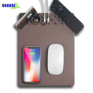 RGKNSE Factory 2018 multi-function wireless charger mouse pad with storage mat wireless charger function custom gaming mouse pad