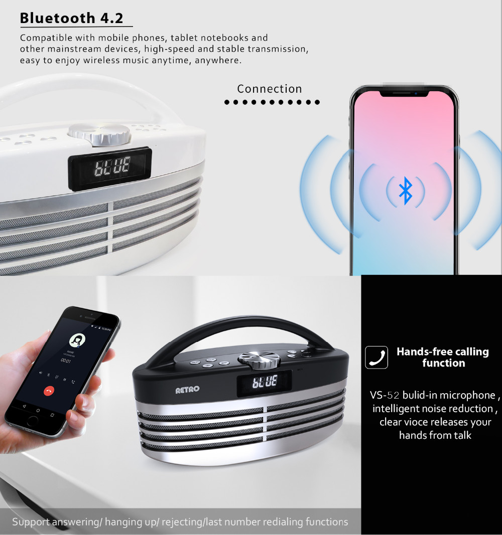 Wireless Bluetooth Speaker,Transparent Light Show Mini Speakers with Led and FM Radio,Vivid Sound Portable Bluetooth Speaker