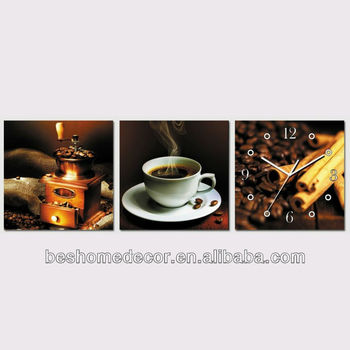 312 24h SALE Coffee vintage design stretched on frame set of 3 canvas wall clock