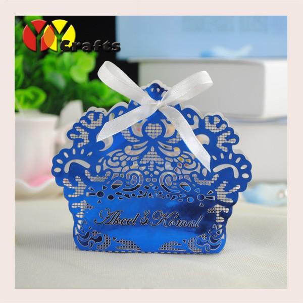 Royal Blue Laser Cut Flower Branch Wedding Favor Candy Box With Custom Logo