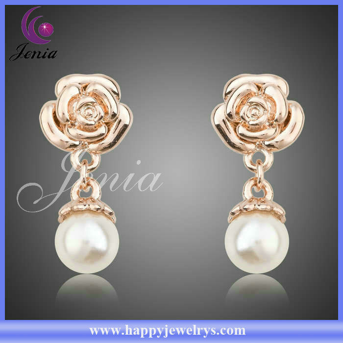 New Special Design Fine 18k Gold Plated Earring With Freshwater Pearl Wholesale No Hole Earring(PE007)