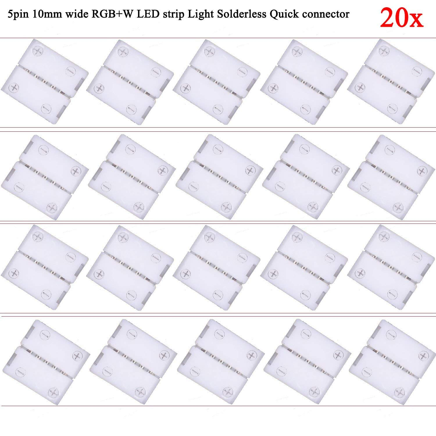 Kabenjee 20x 5pin RGBW LED Ribbon Light Solderless Clip Mount Connector,5-conductor RGBWW LED Strip Light Snap Down Connector for 10mm Wide SMD 5050 RGBW LED Tape Light RGBW LED Band Light(20 in 1set)
