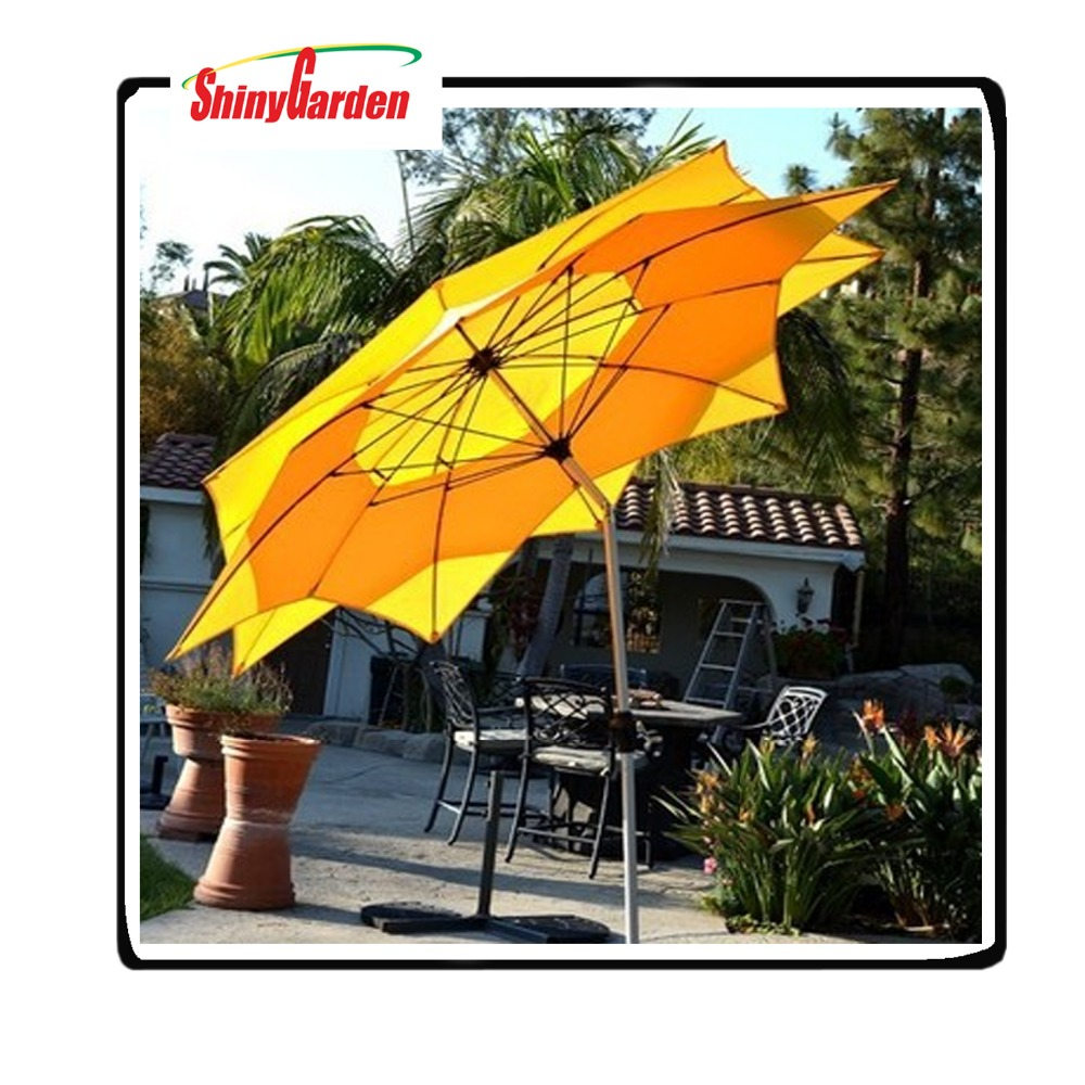 2.5M Lotus Fiberglass Tilt Mechanism For Patio Double Layer Umbrella,Outdoor Furniture Umbrella