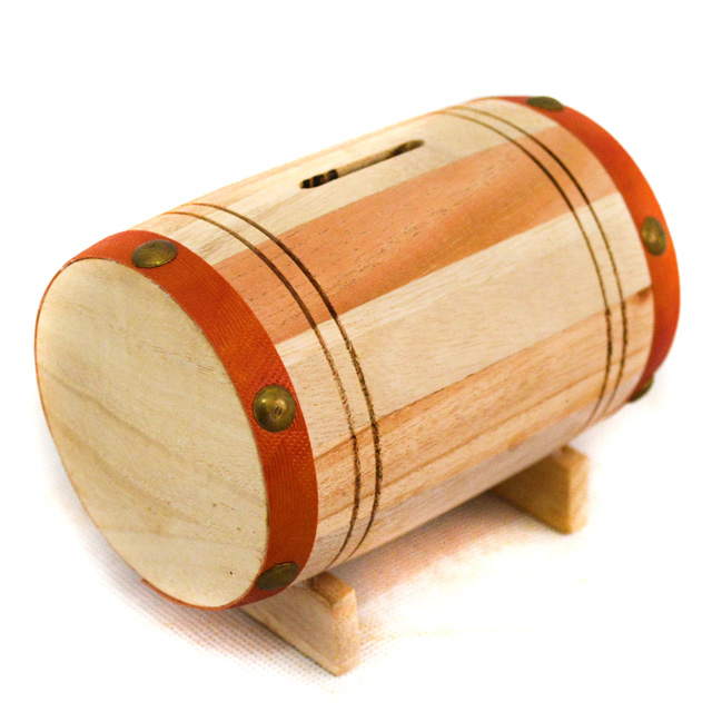 Accept OEM Eco-friendly Wine Barrel Shape Wooden Piggy Bank