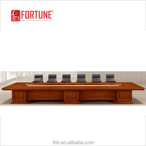 14 People Luxury 4.8 Meter Long Walnut Wooden Office Conference Meeting Table and Leather Chair for sale to Dallas(FOH-2560B)