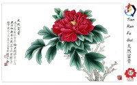 China national flower peony flower painting and Chinese Calligraphy