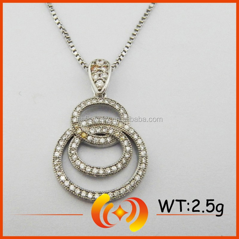 SP0310 Multi Circle Connect Micro Pave Jewelry Fashion Silver Pendant