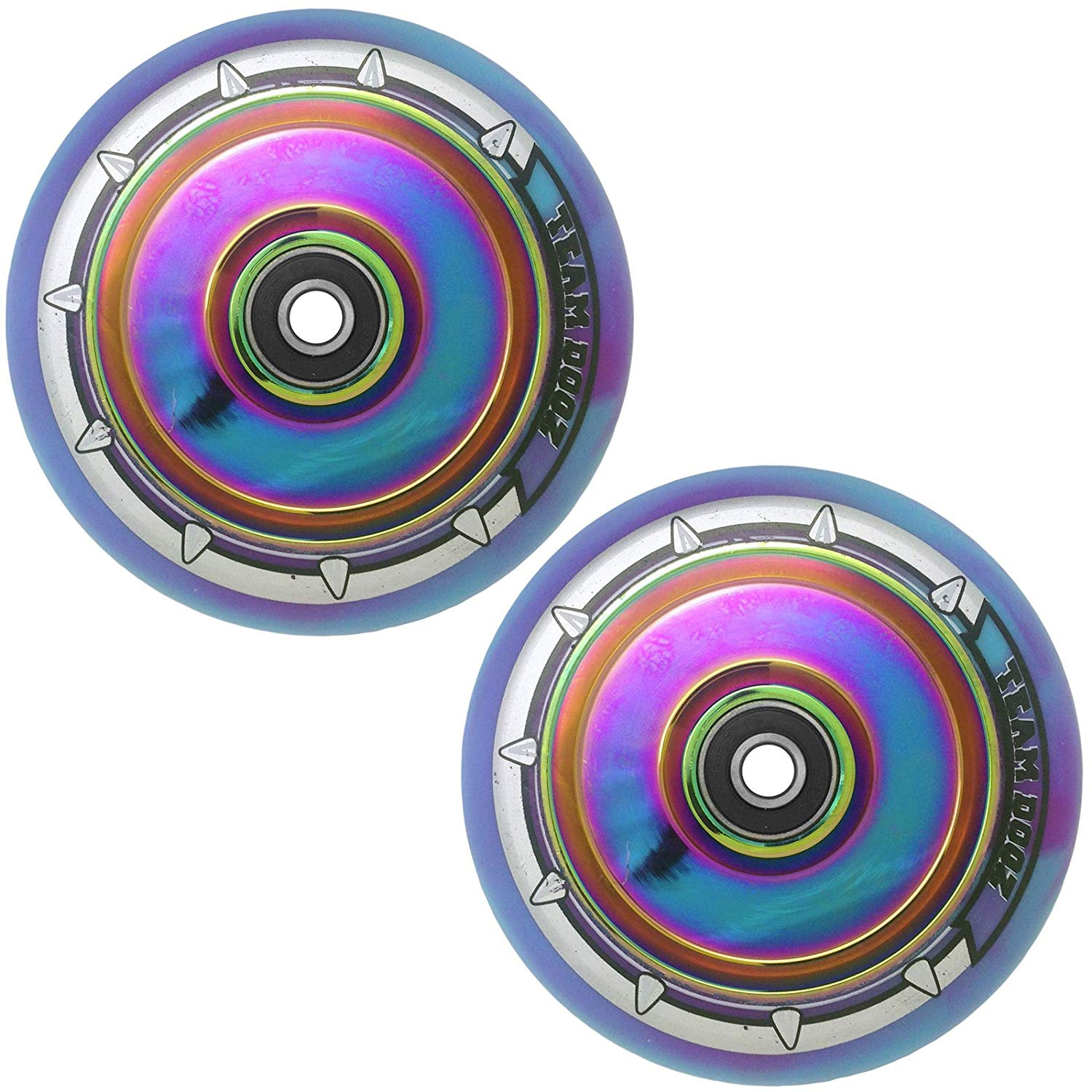 Kutrick Complete 2pcs Hollow Core Scooter Wheels Pro Scooter Wheels Replacement Pairs with Smooth Bearing