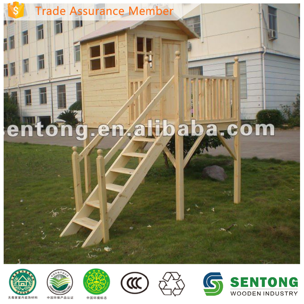Outdoor Wooden Playhouse With Stairs