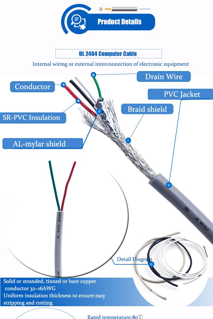 UL aprobado, ul2464 26AWG awg Alambre de cobre estañado 2 core 3 core 5 core apantallado cable de control