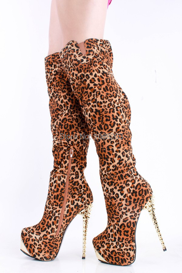 c4a8f4ef80b3 Get Quotations · 2015 Gorgeous Knee High Women Boots Animal Prints Mixed  Color with Leopard 40 CM Length Knee