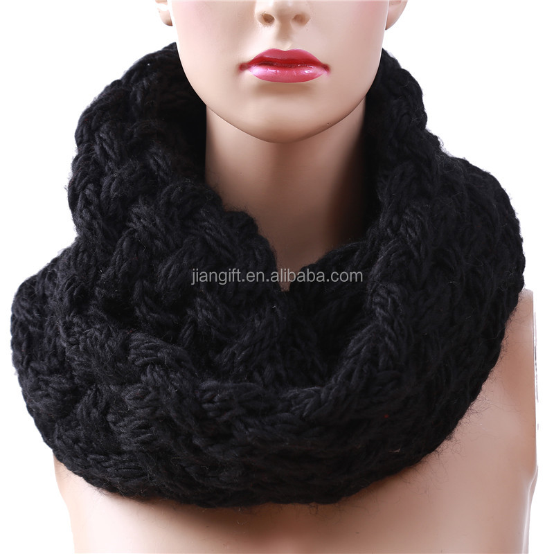 Winter Cable Ring Scarf Women Knitting Infinity Scarves Knitted Warm Neck Circle Scarf bufandas cuellos