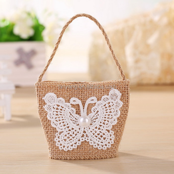 New Arrival Natural Jute Burlap Party Favor Bags With Crochet Erfly Bf 0048