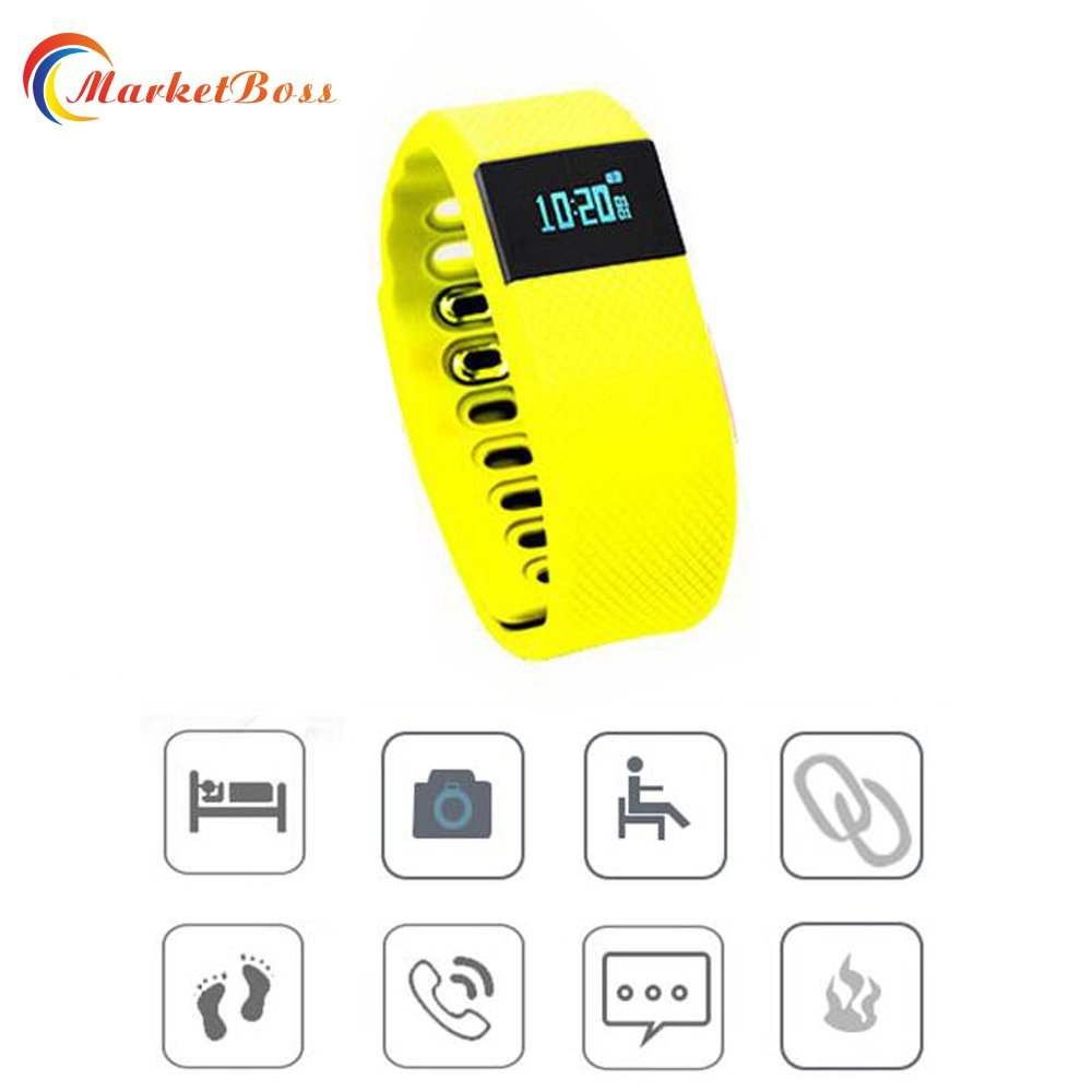 MarketBoss LED Smart Bluetooth Wrist Watch Bracelet Heart Rate Monitor/Calls & Alarm & MSM Reminder/Taking photoes/Calorie Counter/Pedometer/Time Display/Sleep Monitor analysis-with Rechargeable USB port