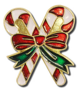 Christmas Double Candy Cane Lapel pin