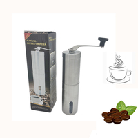 Amazon Hot Selling Mini Home Kitchen Travel Stainless Steel Portable Manual Coffee Grinder Conical Ceramic Burr Coffee Bean Mill