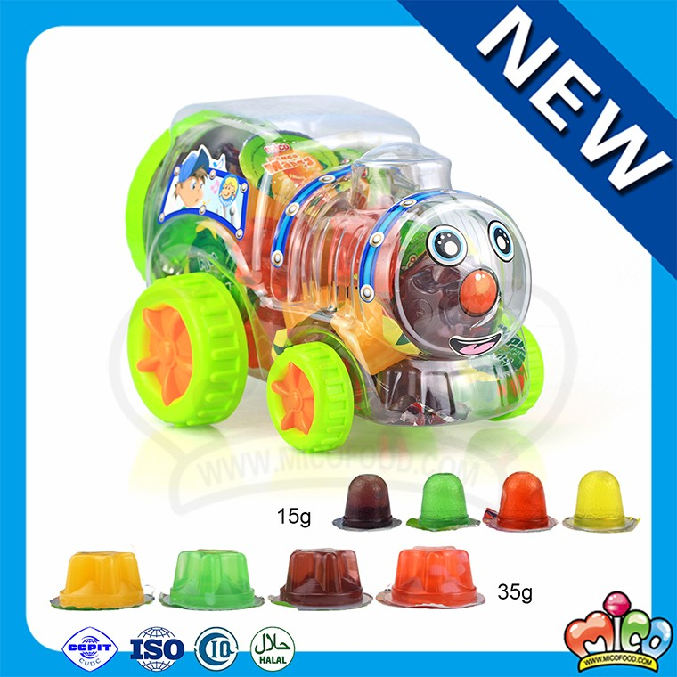 confectionery assorted fruit jelly in big train jar