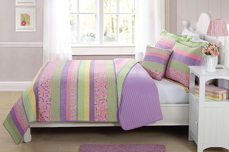 Fancy Linen Bedspread Coverlet 4 Pc Full Size Stripe Butterfly Flowers Pink Purple Green Yellow Reversible Kids/Teens/Girls New#Daisy dream
