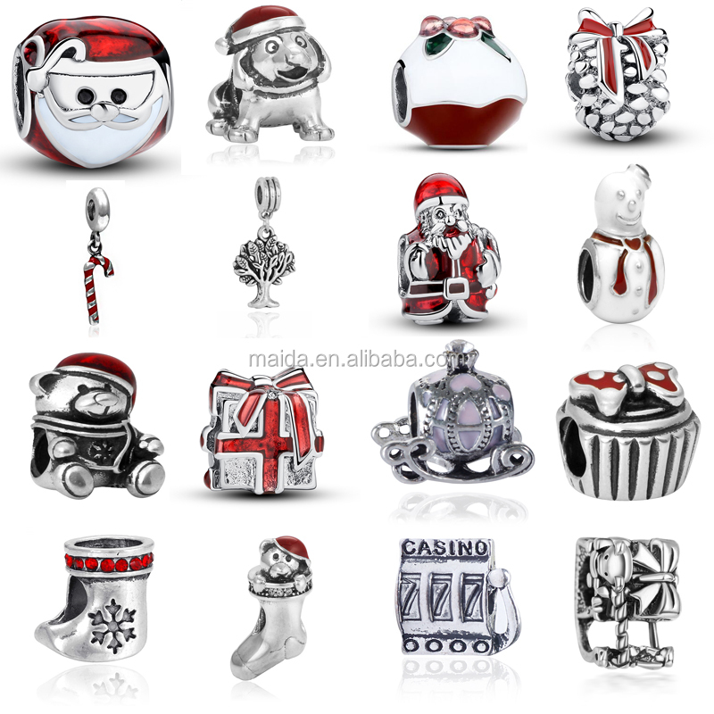 Fashion Enamel Charms Bracelets for Christmas European Santa Charms DIY beads Jewelry