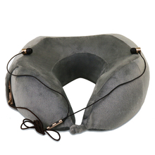 Velour Cover Foldable Memory Foam Travel Neck Pillow Travel Neck Pillow With Sleep Mask Earplugs Carry Bag Adjustable Toggles