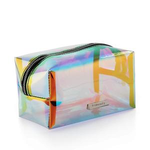Packing hologram pvc plastic storage cosmetic bag ladies' vanity bags