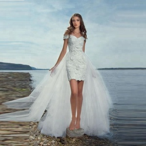 Summer Beach Short Wedding Dress With Detachable Tulle Skirt Lace Bodice Off Shoulder Alibaba Bridal Party Gowns 2018