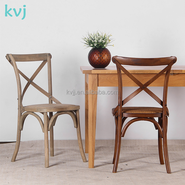KVJ-4024 Vintage french style restaurant x back wood chair