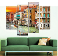 LK4220 4 Panel Modern Venice City Scape Oil Painting On Canvas Wall Art The Picture Print On Canvas For Home Resturant Kitchen H