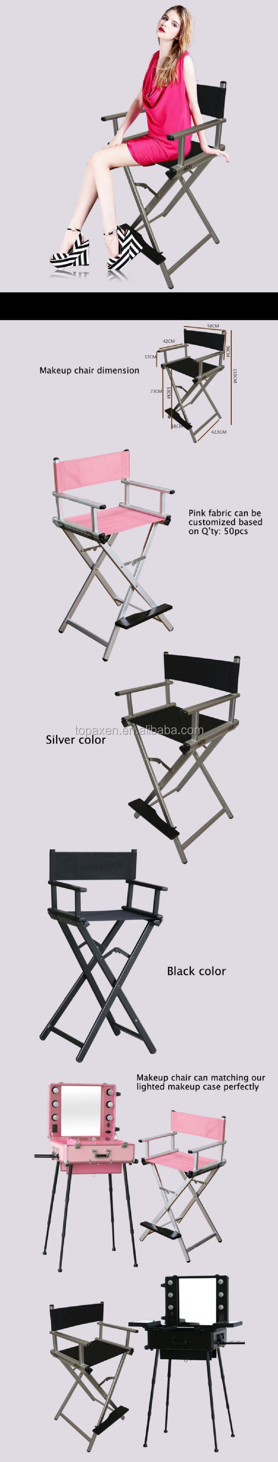 Portable makeup chair - He High Grade Silver Aluminum Makeup Chair Director Chair Folding Portable Makeup Chair Director