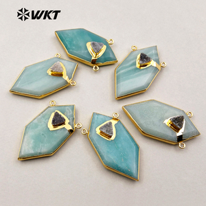 WT-P1243 WKT Popular Wholesale New Fashion Druzy Quartz Pendant Gold Plated Generous Amazonite Pendant