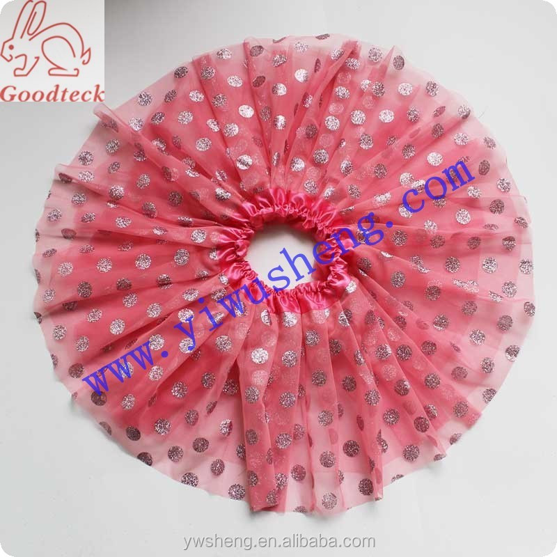 2015 Pink Polka Dot Girl Tutu Skirt 3layers Tulle Pleated Skirt