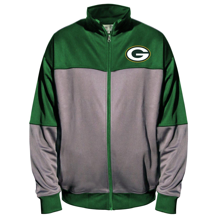 NFL Green Bay Packers Unisex Poly Fleece Track Jacket, Char/Dk Green, 3XT