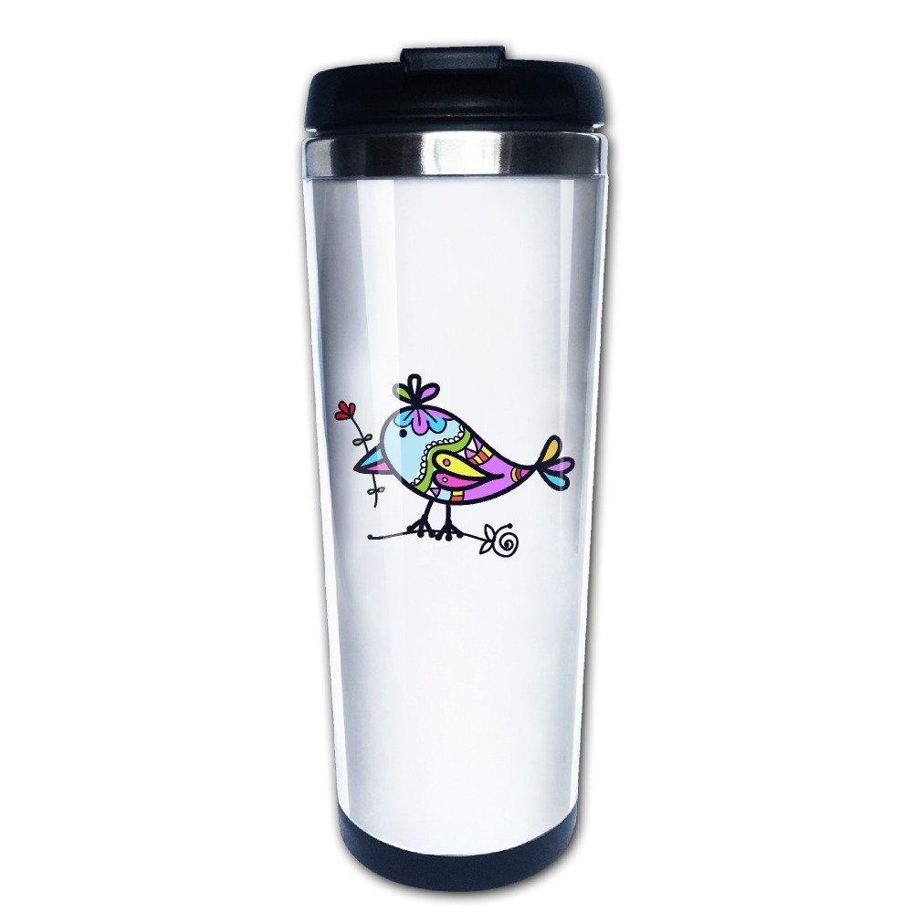 Suger Skull Bird Screen-Print Classic Coffee Mug One Hand Vacuum Mug Stainless Steel Coffee Mug