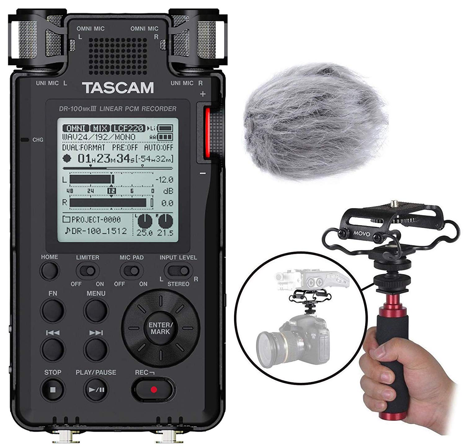 Tascam DR-100mkIII Linear PCM Stereo Handheld Digital Audio Recorder Bundle with Movo Deadcat Windscreen, Shockmount, Camera Mount & Mic Grip
