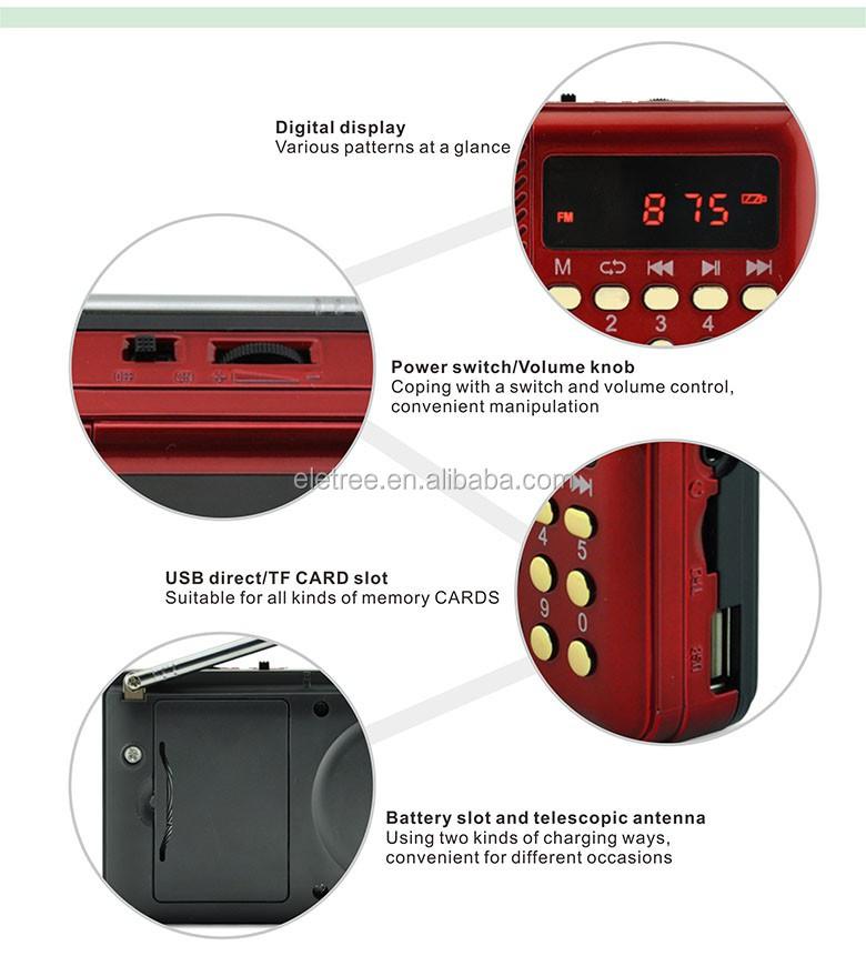 Joc Mini Fm Radio Mp3 Player With Lcd Digital Display El-099u ...