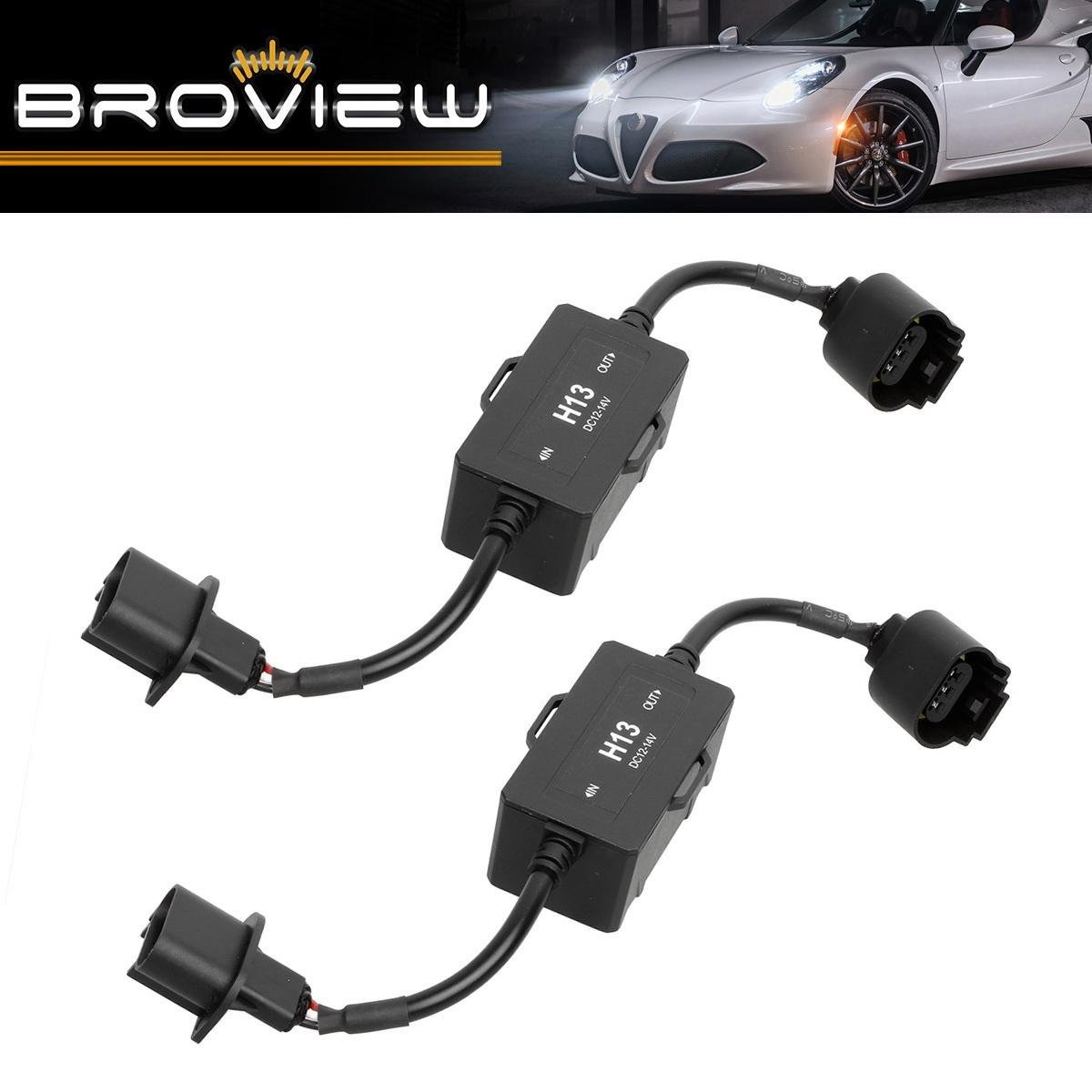 BROVIEW Canbus Series -For H13 9008 LED Headlights Conversion Kit Anti Flickering -Wire Haress Load Resistor Decorder Canbus Error Free Computer Warning Canceller -1 Yr Warranty -(2pcs/1 Pair)