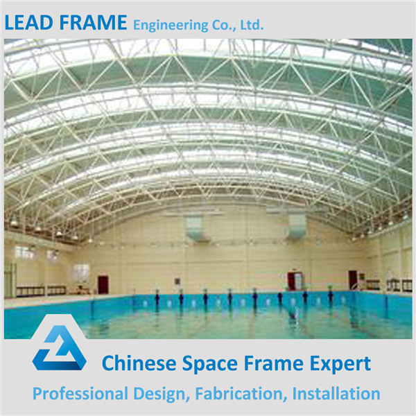 prefab wide span space frame for swimming pool