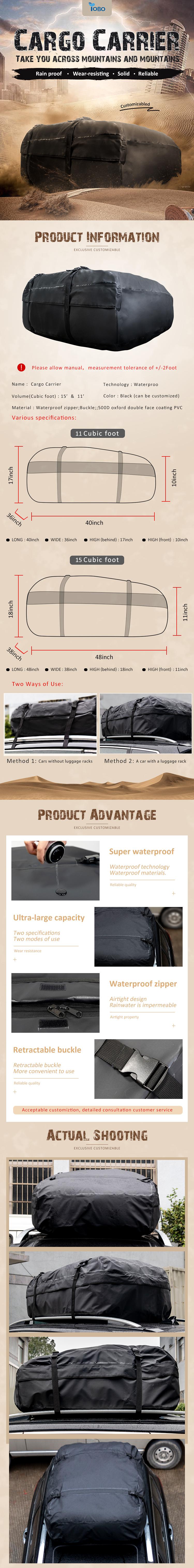 Passt Fahrzeuge mit oder ohne Dach Racks 100% Wasserdichte Auto Dach Top Fracht Träger Tasche Rack Reise Lagerung Tasche