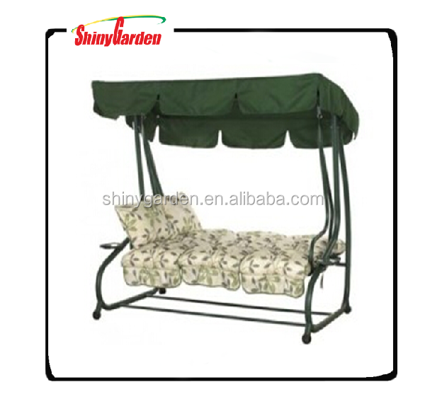 3 Person Outdoor Metal Gazebo Padded Porch Swing Hammock with Adjustable Tilt Canopy
