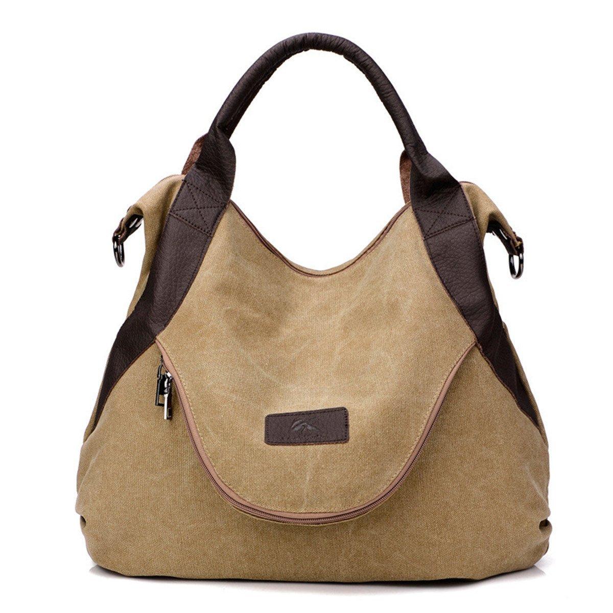 Wyhui Large Pocket Casual Women's Handbag Shoulder Cross body Handbags Canvas Leather Large Capacity Bags For Women Dark khaki one size