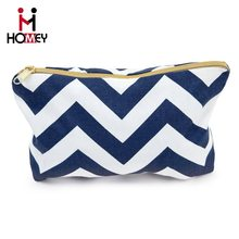 2016 New arrival Cheapest price zipper fabric organic stripe chevron cosmetic bag