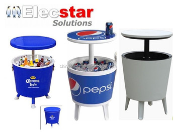Outdoor Side Table Cooler For Beverage Drink With Round Shape