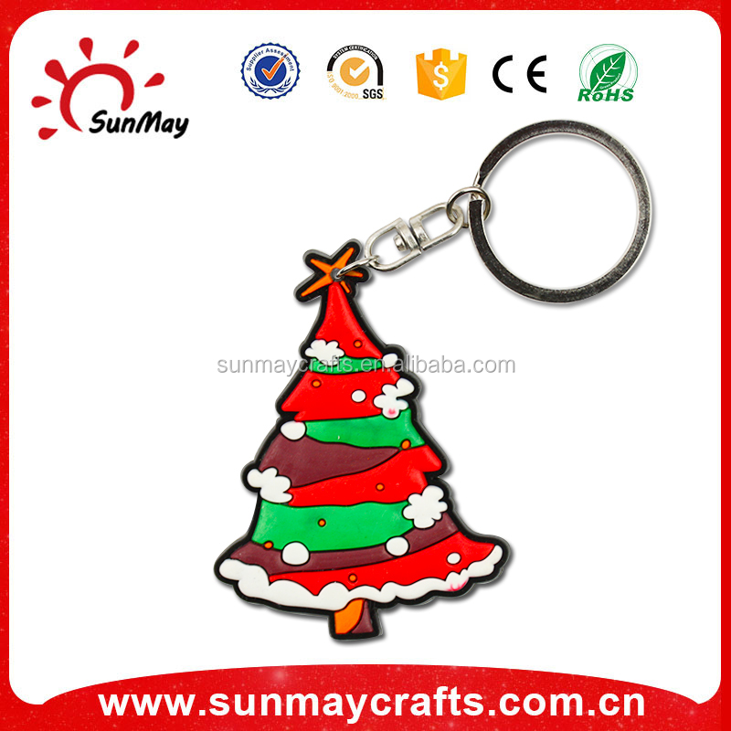 2016 new gifts custom 3d keyring metal pvc keychains for Christmas