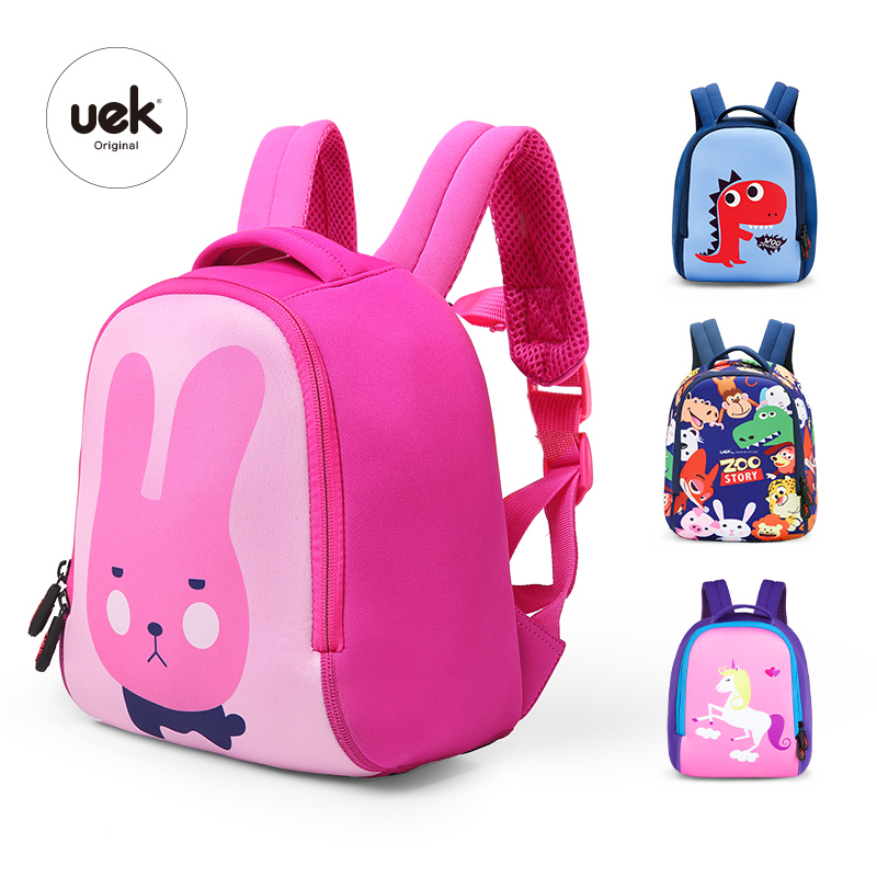 16c03a63a3d9 Uek Kids School Bag Pink Cartoon Rabbit Waterproof Child Backpack ...