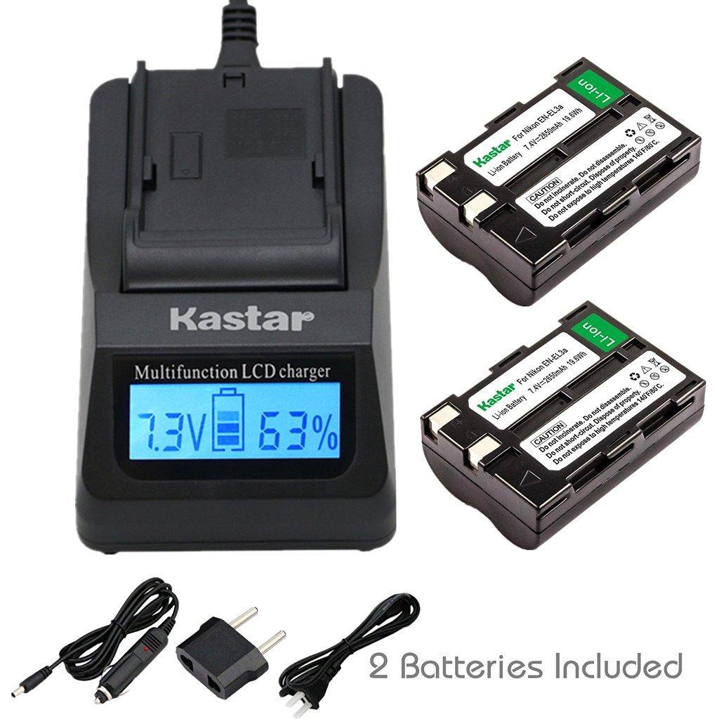 Kastar Ultra Fast Charger(3X faster) Kit and EN-EL3A Battery (2-Pack) for Nikon EN-EL3a, EN-EL3, MH-18, MH-18a and Nikon D50, D70, D70s, D100 Cameras