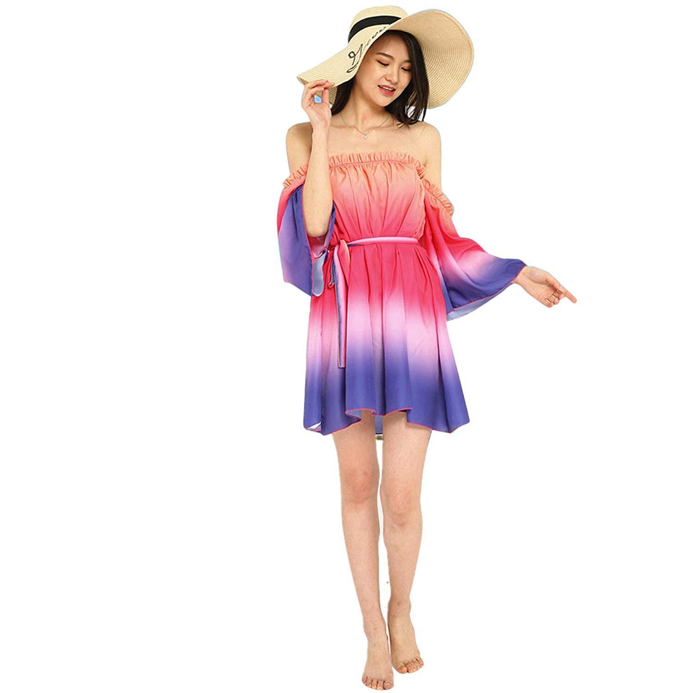 ❤ HOT SALE! Londony Women's Summer Flare Sleeve Ruffle Off the Shoulder Rainbow Swing Dress,Tunic Short Dress for Women (Hot Pink ❤️, M)