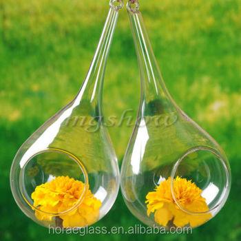 New Design Unique Hanging Crystal Glass Flower Vasesair Plant Glass