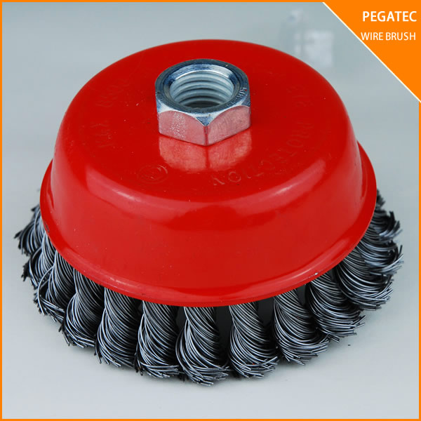 "4"" x 5/8"" 11 NC FINE Knot Wire Cup Brush For Angle Grinders polishing pad"